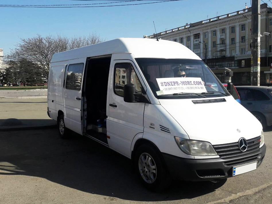 Заказать комфортабельный микроавтобусMercedes-Benz Sprinter 313 (белый). Компания Днепр-Море.
