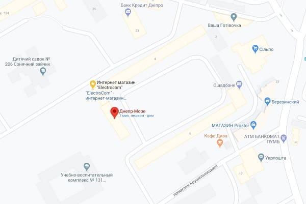 Днепр-Море на Googl картах